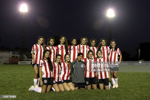 Players of American School pose for a team photo before the FIFA Women's Football Initiative on October 27 2011 in Asuncion Paraguay