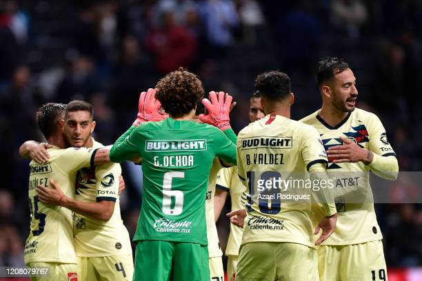 Players of América celebrate after winning the 7th round match between Monterrey and America as part of the Torneo Clausura 2020 Liga MX at BBVA...