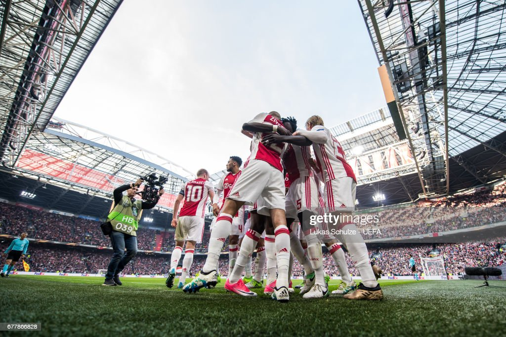 Players of Amsterdam celebrate their teams first goal during the Uefa Europa League, semi final first leg match, between Ajax Amsterdam and Olympique Lyonnais at Amsterdam Arena on May 3, 2017 in Amsterdam, Netherlands.