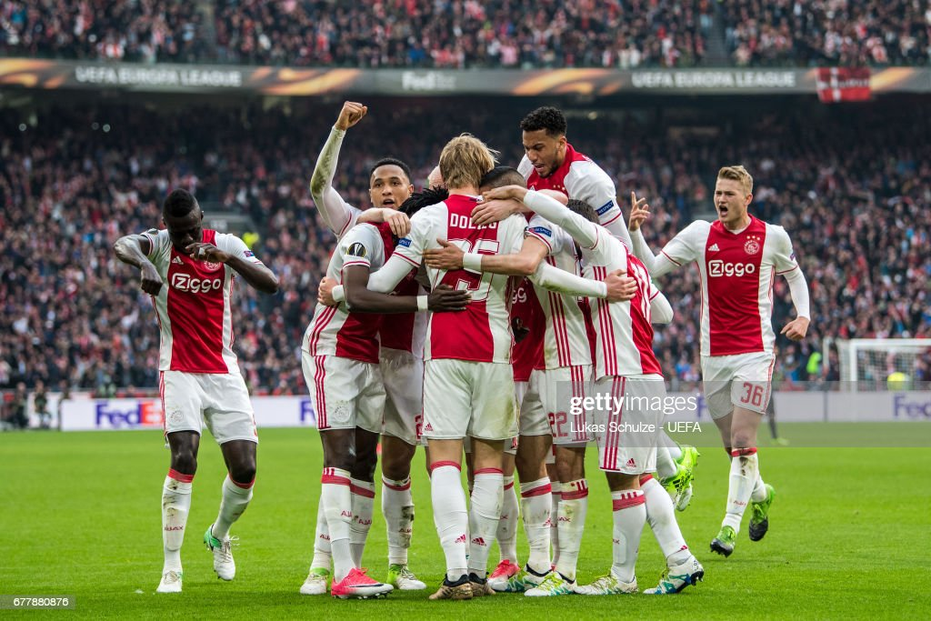 Players of Amsterdam celebrate their teams second goal during the Uefa Europa League, semi final first leg match, between Ajax Amsterdam and Olympique Lyonnais at Amsterdam Arena on May 3, 2017 in Amsterdam, Netherlands.