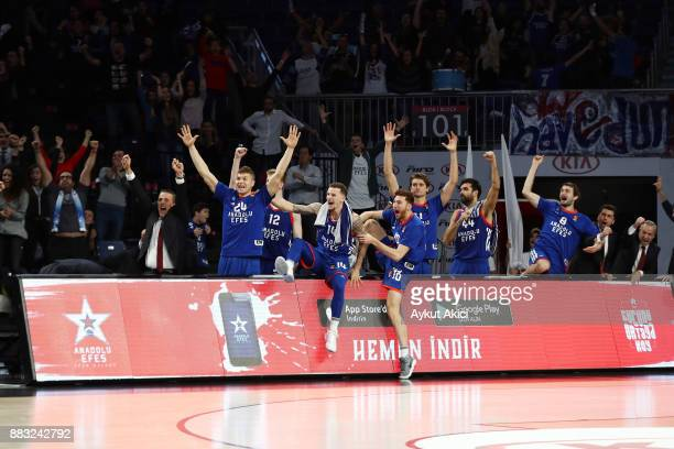 Players of Anadolu Efes Istanbul pictured prior to the 2017/2018 Turkish Airlines EuroLeague Regular Season game between Anadolu Efes Istanbul and AX...