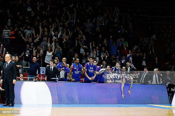 Players of Anadolu Efes Istanbul pictured prior to the Turkish Airlines Euroleague Basketball Top 16 Round 1 game between Anadolu Efes Istanbul v...