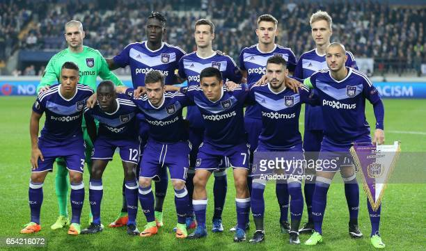 Players of Anderlecht pose for a photo ahead of the UEFA Europa League round of 16 soccer match between Anderlecht and Apoel Nicosia at Constant...