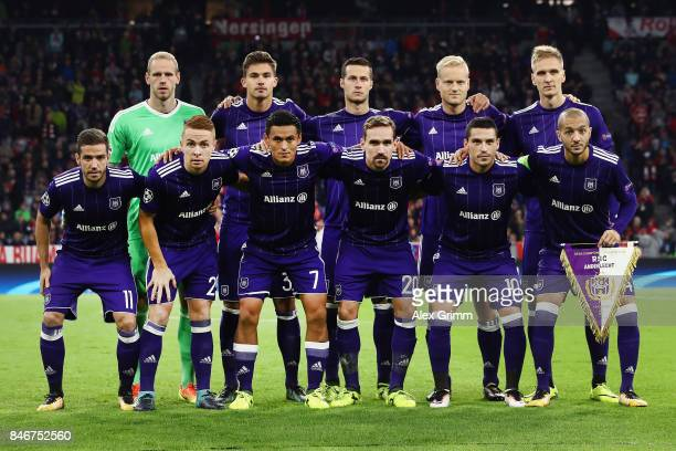 Players of Anderlecht pose for a team photo prior to the UEFA Champions League group B match between Bayern Muenchen and RSC Anderlecht at Allianz...