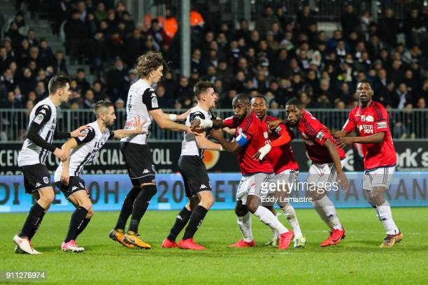 Players of Angers and Amiens during the Ligue 1 match between Angers SCO and Amiens SC at Stade Raymond Kopa on January 27 2018 in Angers