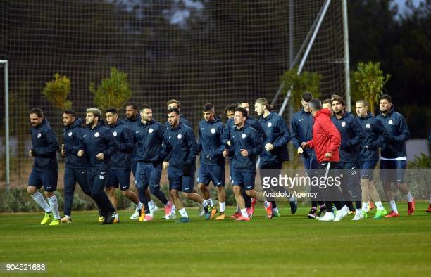 Players of Antalyaspor attend a training session ahead of the second half of Turkish Super Lig at club's sports facilities in Antalya Turkey on...