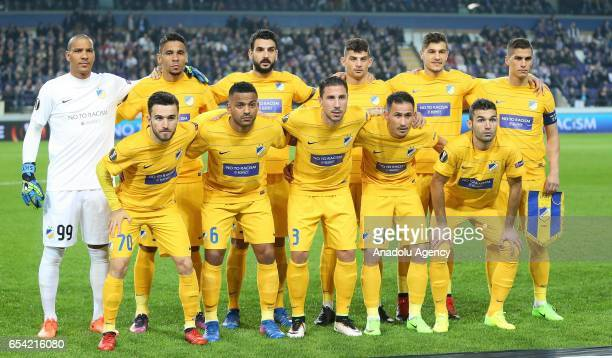 Players of Apoel Nicosia pose for a photo ahead of the UEFA Europa League round of 16 soccer match between Anderlecht and Apoel Nicosia at Constant...