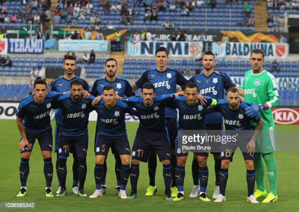 Players of Apollon Limassol pose prior the UEFA Europa League Group H match between SS Lazio and Apollon Limassol at Stadio Olimpico on September 20...