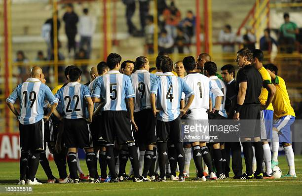 Players of Argentina and Brazil wait for the start of the match prior the second leg of the Superclasico de las Americas between Argentina and Brazil...