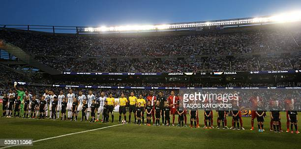 Players of Argentina and Panama listen to their national anthems before the start of their Copa America Centenario football tournament match in...
