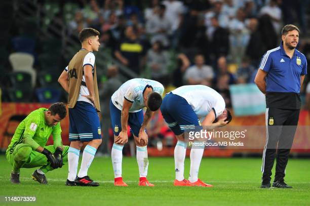 Players of Argentina are sad after the match during the FIFA U20 World Cup match between Argentina and Mali on June 4 2019 in Bielsko Biala Poland