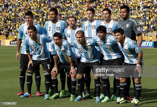 Players of Argentina before the match between Argentina and Ecuador as part of the 14th round of the South American Qualifiers for the FIFA's World...