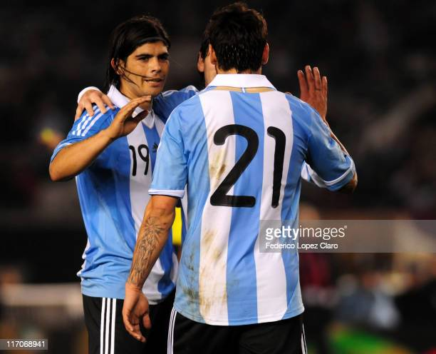 Players of Argentina celebrate a goal against Albania during a friendly match at Monumental Vespucio liberti on June 20, 2011 in Buenos Aires,...