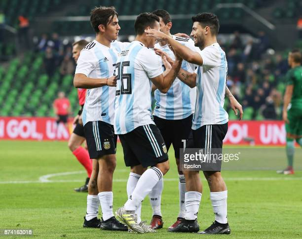 Players of Argentina celebrate a goal during the International Friendly Match between Argentina and Nigeria at Krasnodar Stadium on November 14 2017...