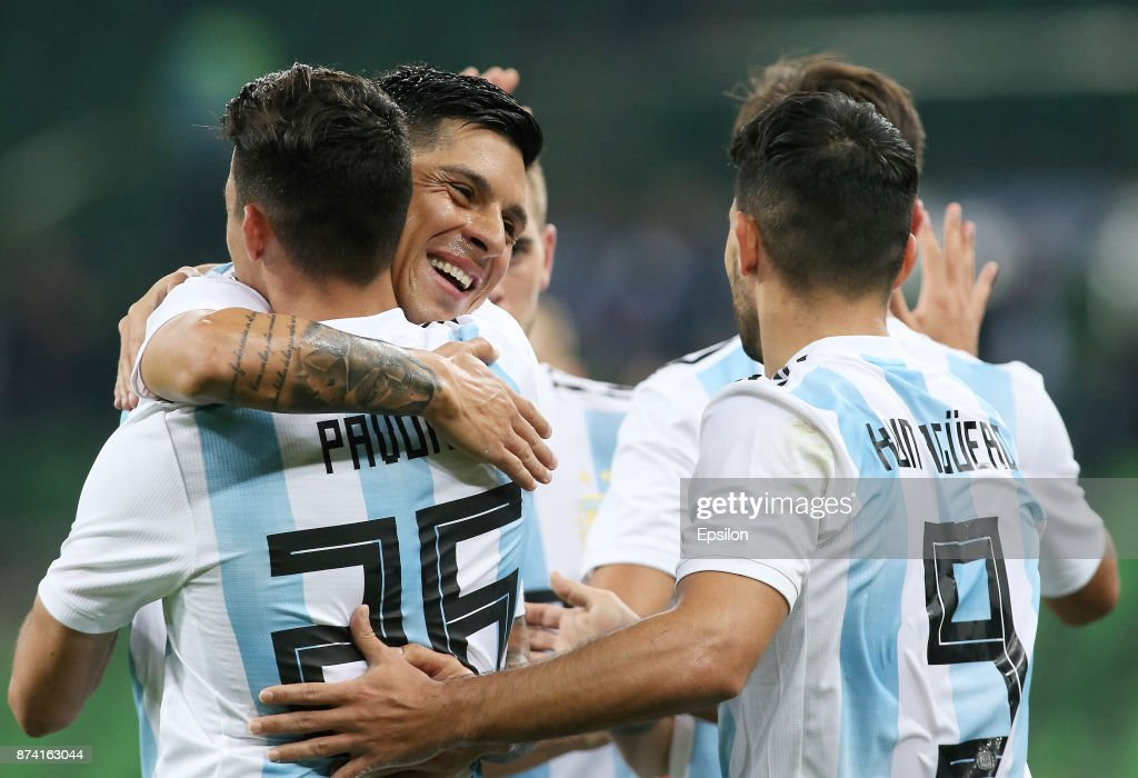 Players of Argentina celebrate a goal during the International Friendly Match between Argentina and Nigeria at Krasnodar Stadium on November 14, 2017 in Krasnodar, Russia.