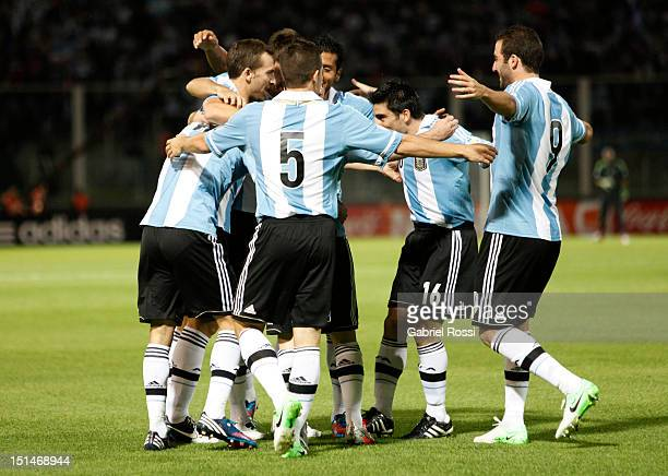 Players of Argentina celebrate a goal of Angel Di Maria during a match between Argentina and Paraguay as part of the South American Qualifiers for...