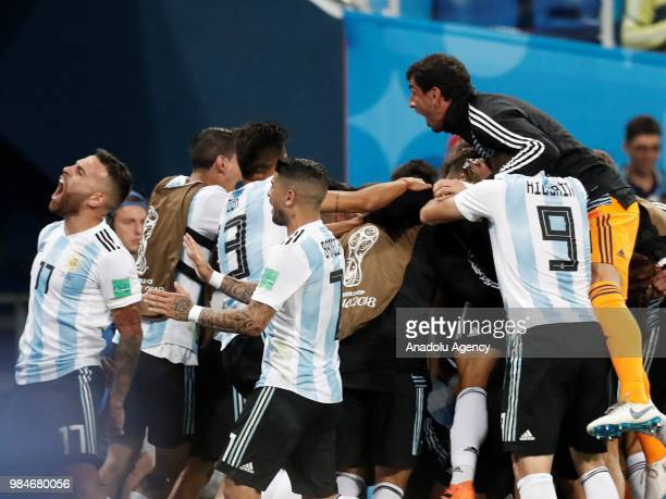 Players of Argentina celebrate after a goal during the 2018 FIFA World Cup Russia Group D match between Nigeria and Argentina at the Saint Petersburg...