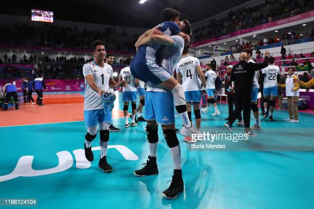 Players of Argentina celebrate after defeating Cuba 3-0 in Men´s Volleyball Gold Medal Match on Day 9 of Lima 2019 Pan American Games at Calla Sports...