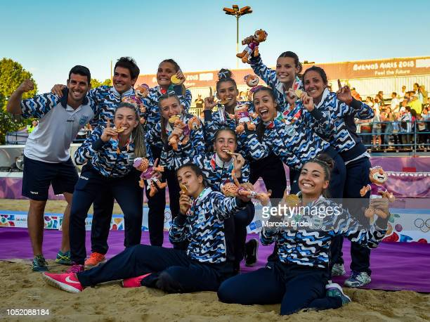 Players of Argentina celebrate after winning a Women's Gold Medal Match against Croatia during day 7 of Buenos Aires 2018 Youth Olympic Games at...
