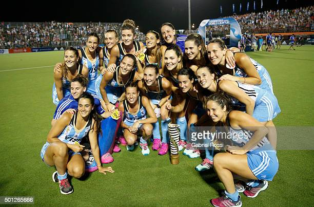 Players of Argentina celebrate after winning the final match between Argentina and New Zealand as part of Day 9 of the Hockey World League Final...