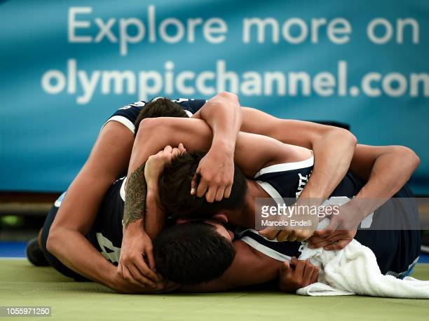 Players of Argentina celebrate after winning the Men's Semifinal during day 11 of the Youth Olympic Games at Urban Park Puerto Madero on October 17...