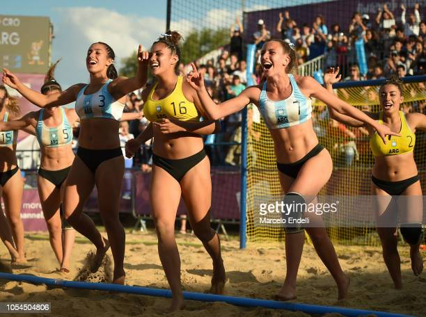 Players of Argentina celebrate after winning the Women's Gold Medal Match against Croatia during day 7 of Buenos Aires 2018 Youth Olympic Games at...