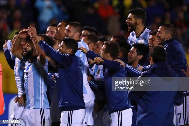 Players of Argentina celebrate qualifying to the World Cup after winning a match between Ecuador and Argentina as part of FIFA 2018 World Cup...