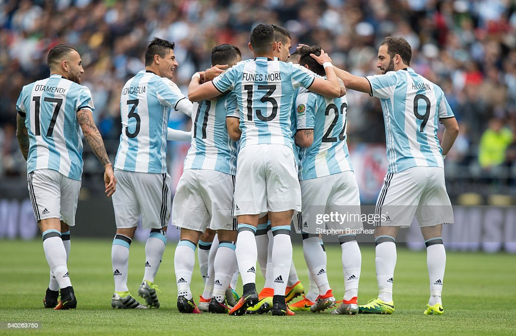 Players of Argentina celebrate their first goal scored by Erik Lamela during a group D match between Argentina and Bolivia at CenturyLink Field as part of Copa America Centenario US 2016 on June 14, 2016 in Seattle, Washington, US.