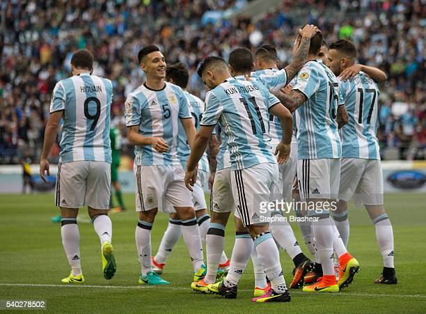 Players of Argentina celebrate their third goal goal during a group D match between Argentina and Bolivia at CenturyLink Field as part of Copa...