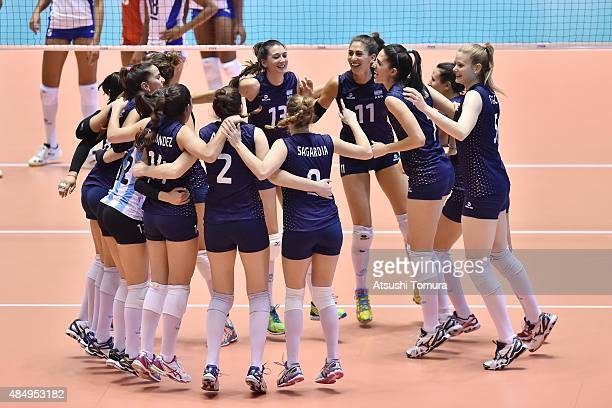 Players of Argentina celebrates after win the match against Cuba in the match between Argentina and Cuba during the FIVB Women's Volleyball World Cup...