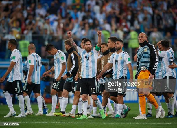 Players of Argentina celebrates the victory at the end of the 2018 FIFA World Cup Russia group D match between Nigeria and Argentina at Saint...