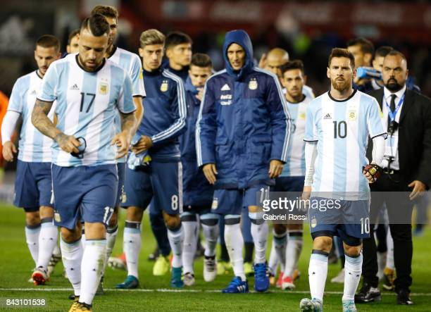 Players of Argentina leave the field after a match between Argentina and Venezuela as part of FIFA 2018 World Cup Qualifiers at Monumental Stadium on...