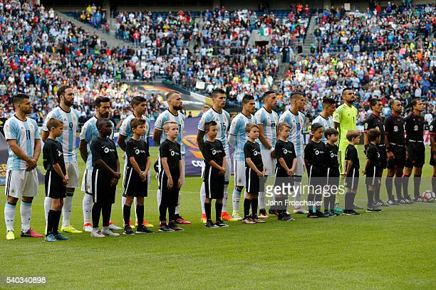 Players of Argentina line up before a Group D match between Argentina and Bolivia at CenturyLink Field as part of Copa America Centenario US 2016 on...