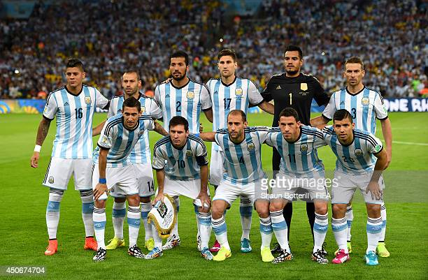 Players of Argentina line up prior to the 2014 FIFA World Cup Brazil Group F match between Argentina and BosniaHerzegovina at Maracana on June 15...