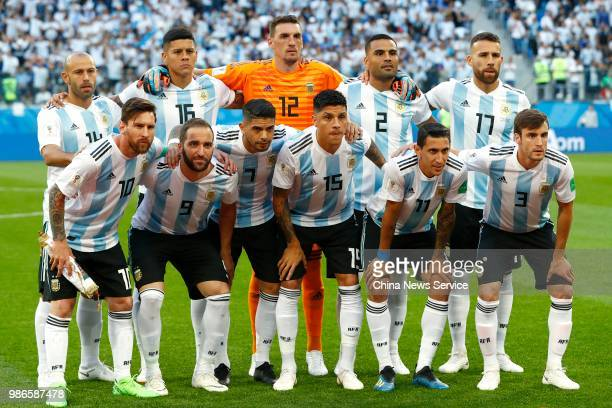 Players of Argentina line up prior to the 2018 FIFA World Cup Russia group D match between Nigeria and Argentina at Saint Petersburg Stadium on June...