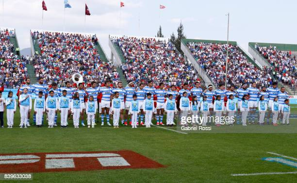 Players of Argentina lineup during the national anthems prior to the round two match between Argentina and South Africa as part of The Rugby...