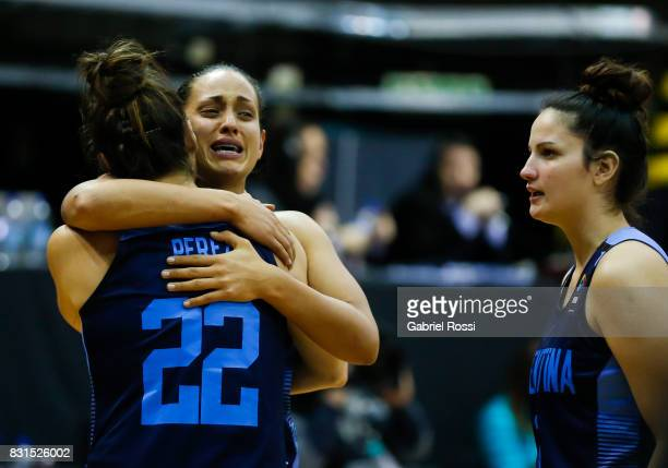 Players of Argentina look dejected after a match between Argentina and Canada as part of the FIBA Women's AmeriCup Final at Obras Sanitarias Stadium...