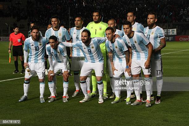 Players of Argentina national football team pose for a photo ahead of a friendly game between Argentina and Honduras at Bicentenario stadium in San...