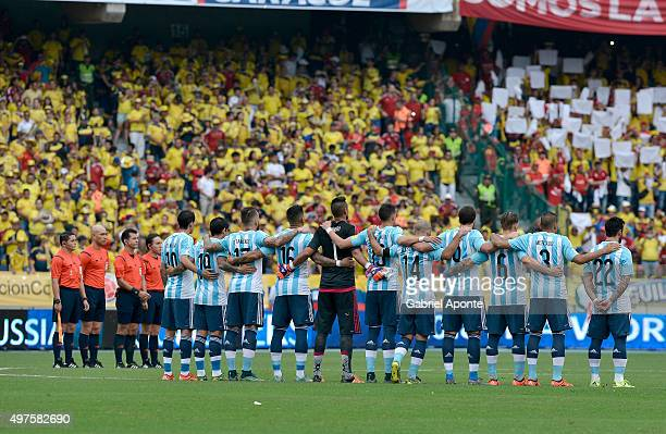 Players of Argentina observe a minutesilence during the formal events prior a match between Colombia and Argentina as part of FIFA 2018 World Cup...