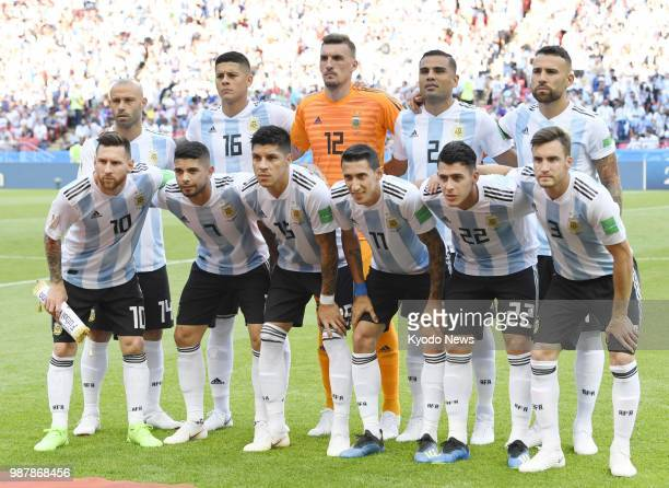Players of Argentina pose ahead of a World Cup roundof16 match against France in Kazan Russia on June 30 2018 ==Kyodo