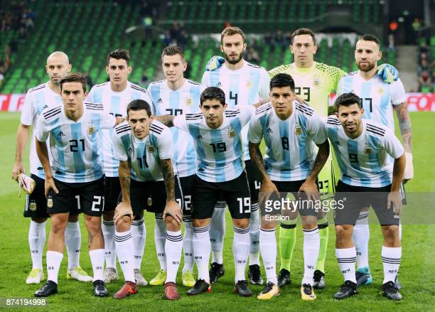 Players of Argentina pose before an international friendly match between Argentina and Nigeria at Krasnodar Stadium on November 14 2017 in Krasnodar...