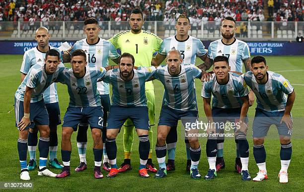 Players of Argentina pose for a team photo prior to a match between Peru and Argentina as part of FIFA 2018 World Cup Qualifiers at Nacional Stadium...