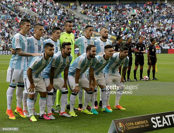 Players of Argentina pose for pictures before the start of the Copa America Centenario football tournament match against Bolivia in Seattle...