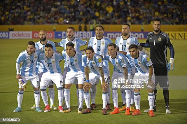 Players of Argentina pose for pictures before the start of their 2018 World Cup qualifier football match against Ecuador in Quito on October 10 2017