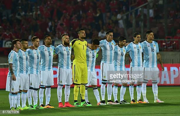Players of Argentina pose for pictures before the start of their Russia 2018 FIFA World Cup South American Qualifiers' football match against Chile...