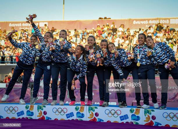 Players of Argentina pose with their Gold Medal after winning the Women's Gold Medal Match against Croatia during day 7 of Buenos Aires 2018 Youth...
