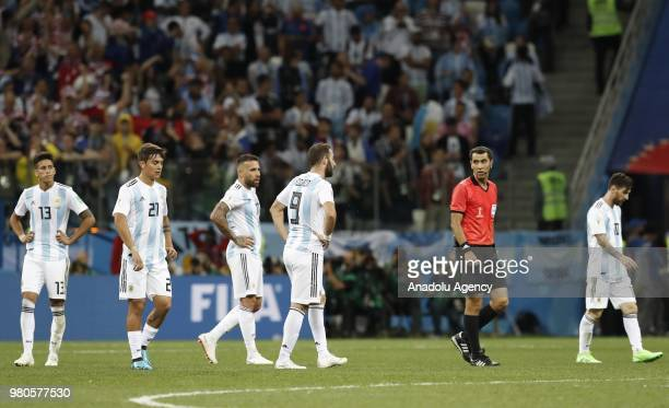 Players of Argentina react after losing the 2018 FIFA World Cup Russia Group D match against Croatia at Nizhny Novgorod Stadium in Nizhny Novgorod...