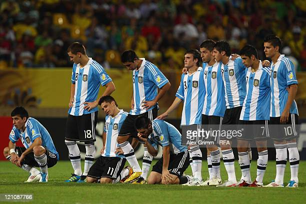 Players of Argentina react after the FIFA U20 World Cup 2011 quarter final match between Portugal and Argentina at Estadia Jaime Moron Leon on August...