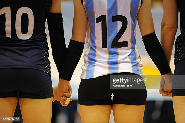 Players of Argentina shake hands before the match between Argentina and South Korea during the FIVB Women's Volleyball World Cup Japan 2015 at Park...