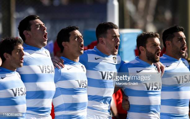 Players of Argentina sing the national anthem before a match between Argentina and South Africa as part of The Rugby Championship 2019 at Padre...